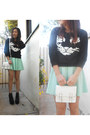 Mint-skater-rire-boutique-dress-udobuy-sweater-white-satchel-h-m-bag