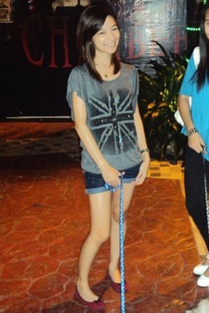 charcoal gray blouse - red shoes - shorts