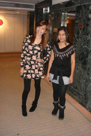 pink dress - black leggings - black boots