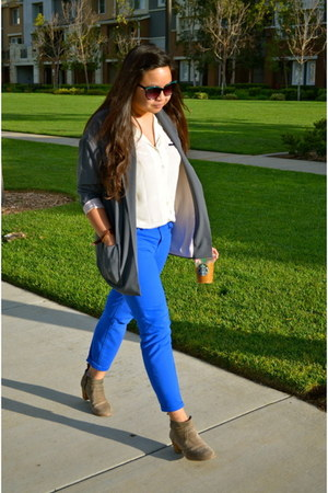 blue BDG jeans - tan Dolce Vita boots - charcoal gray Forever21 blazer