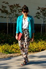 Teal-h-m-blazer-white-love-21-shirt-tawny-sam-edelman-sandals