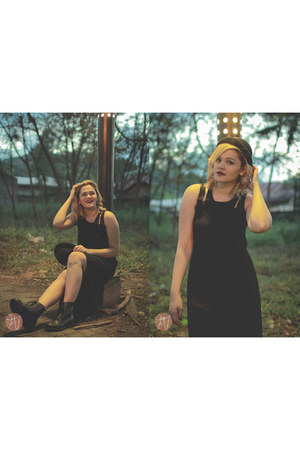 black H&M boots - black dress - black What A Girl Wants hat