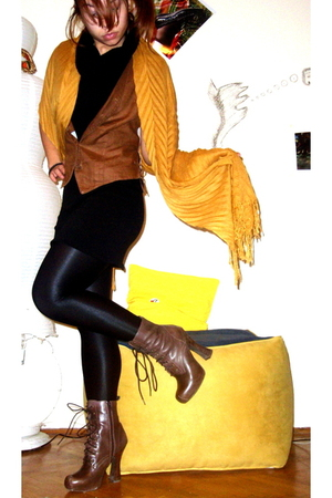 gold H&M scarf - brown Topshop boots - black Bershka dress - black tights - brow