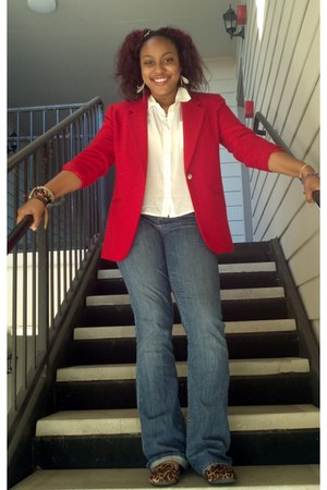 red blazer - blue Gap jeans - white Forever 21 shirt - brown loafers