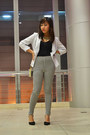 White-thrifted-thrift-store-blazer-black-stripes-just-chic-pants