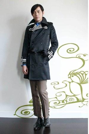 black I MADE IT coat - blue I MADE IT shirt - light brown I MADE IT pants