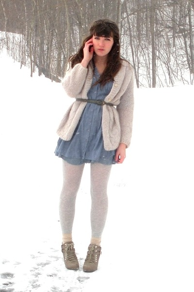 neutral go jane boots - light blue chambray tunic dress - beige vintage sweater