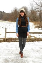 heather gray polka dot tights - tan wool vintage hat