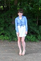 light pink floral thrifted skirt - sky blue chambray shirt