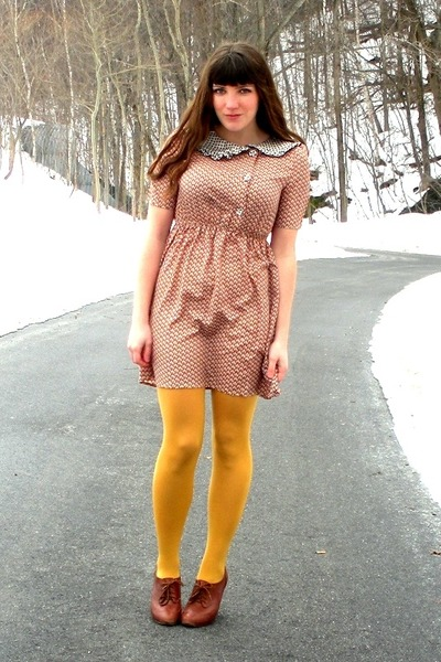 brown blimey oxfords seychelles shoes - burnt orange modcloth dress - mustard HU