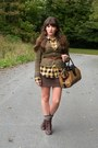 Dark-brown-cheerio-seychelles-boots-olive-green-consignment-delias-blazer