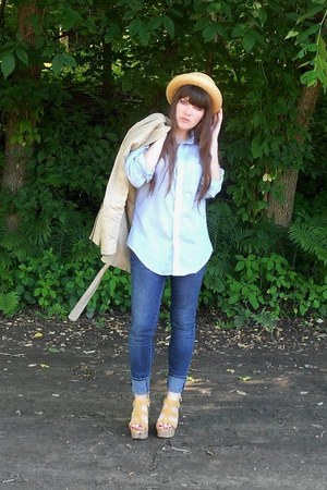 light yellow straw thrifted hat - camel trench H&amp;M coat