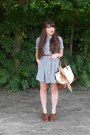 Navy-gingham-thrifted-dress-gold-paisley-thrifted-scarf-cream-thrifted-purse