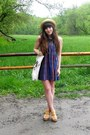 Blue-plaid-thrifted-dress-light-yellow-straw-thrifted-hat