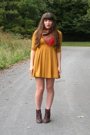 mustard H&M dress - dark brown cheerio seychelles boots - red thrifted scarf