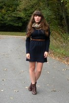 navy thrifted handmade dress - dark brown cheerio seychelles boots