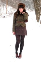 brown blimey oxfords seychelles shoes - dark brown mink vintage hat - olive gree