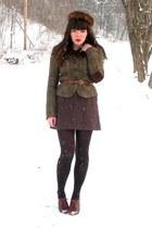 brown blimey oxfords seychelles shoes - dark brown mink vintage hat - olive gree