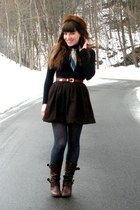 dark brown uttley Aldo boots - black turtleneck American Apparel dress - dark br