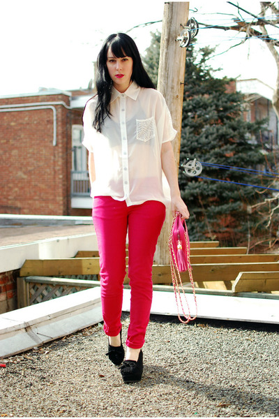 white Sugarlips blouse - hot pink Zara jeans