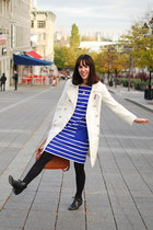 blue nautical Gap dress - black vintage boots - white trench coat vintage coat