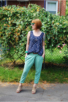 green vintage bracelet - teal ardenes sunglasses - tan H&M wedges