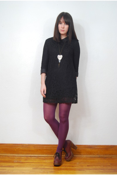black Forever 21 dress - purple Ardene tights - crimson Urban Outfitters heels