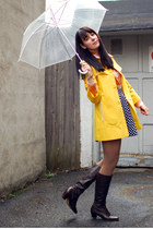 dark brown vintage boots - yellow vintage coat - brown modcloth tights