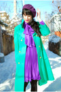 Chartreuse-vintage-coat-purple-vintage-dress-black-urban-outfitters-tights