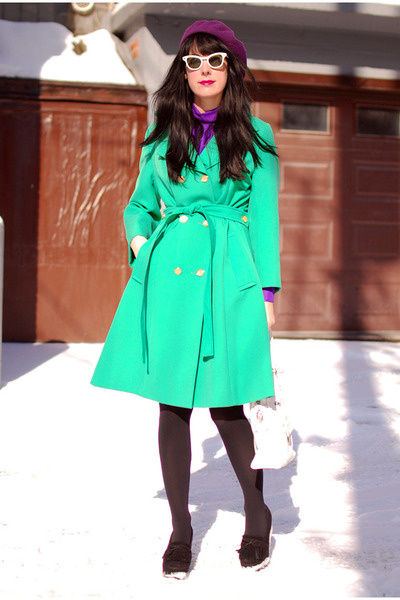 purple vintage dress - chartreuse vintage coat - black Urban Outfitters tights