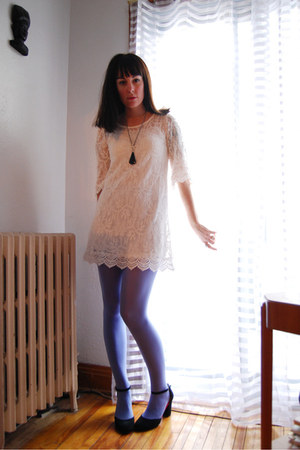 black Maraisusacom heels - white H&amp;M dress - periwinkle HUE tights