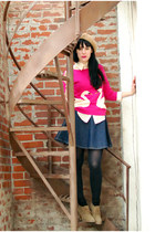 hot pink Urban Outfitters sweater - tan Forever 21 boots - tan vintage hat