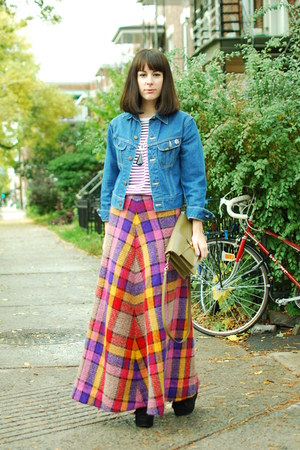 red missoni maxi vintage skirt - blue thrifted vintage jacket