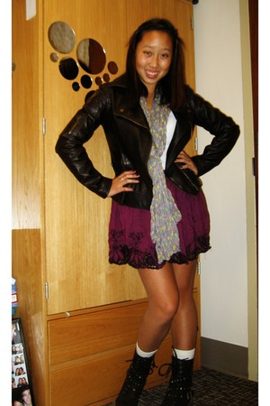 brown jacket - black boots - purple skirt - purple scarf