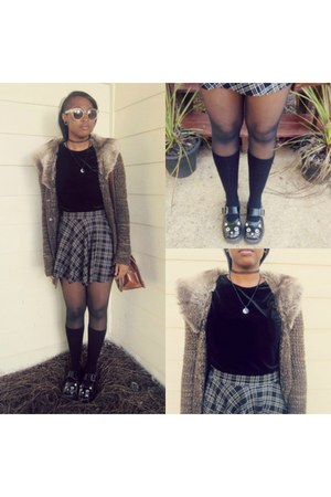 Urban Outfitters shoes - black CVS tights - knee high DSW socks