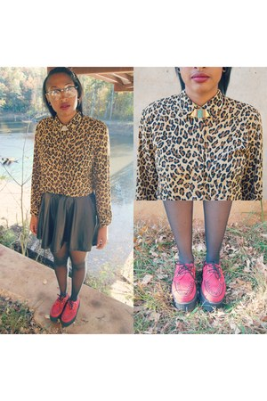 thrifted top - red creepers Urban Outfitters shoes - CVS tights