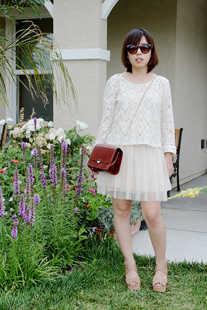 brown box purse purse - cream dress - black sunglasses - cream creme lace top