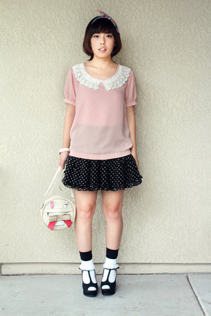 Forever21 blouse - circle with bow purse - wedges - skirt