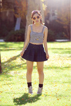 stripe crop top Love Culture top - mini jean skirt