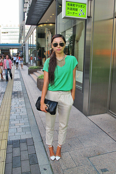 chartreuse H&M t-shirt - black Sisley bag - dark brown Ray Ban sunglasses