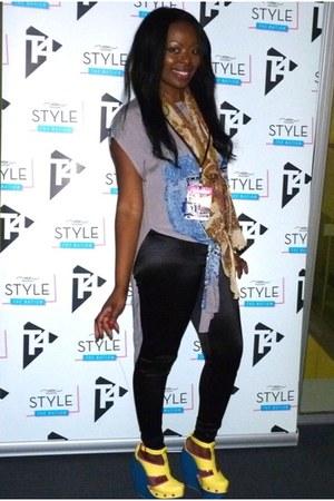 new look heels - shiny Topshop leggings - vintage scarf - Vinatge top