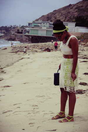 lime green You Like It I Made It skirt - ivory Sugarlips dress - navy coach bag