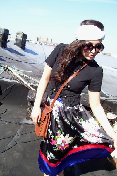 brown vintage purse - black Forever 21 dress - black Aldo glasses - white cairo