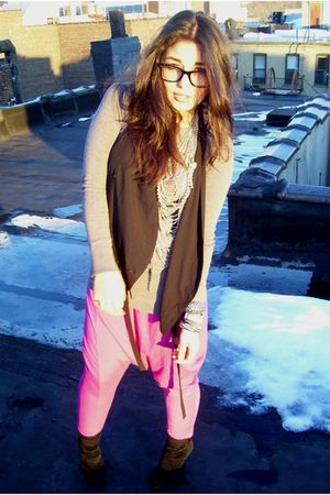 pink DIY pants - black Forever 21 vest - silver Aldo accessories - black Ray Ban