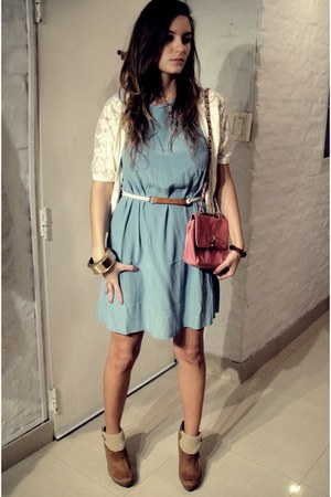 camel asos heels - sky blue asos dress - salmon Forever 21 bag