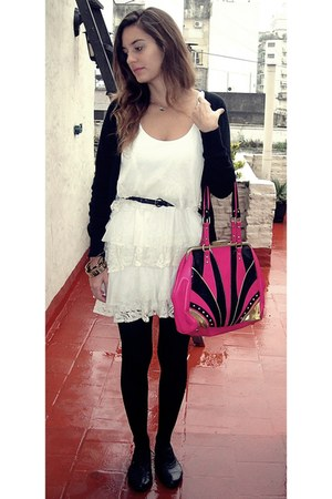 black Primark shoes - ivory Espao Fashion dress - hot pink River Island bag - bl
