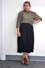 Olive-green-sheer-button-up-h-m-blouse-black-long-skirt-uniqlo-skirt-tawny-z