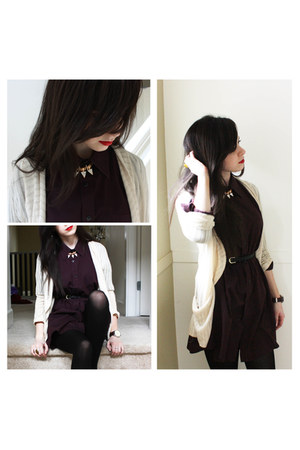 deep purple thrifted dress - cream cream Urban Outfitters cardigan