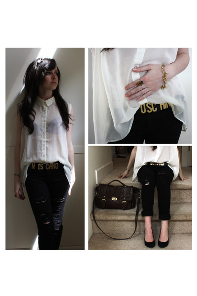 black diy distressed jeans - ivory white shirt blouse