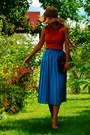 Burnt-orange-zara-basic-top-turquoise-blue-pleated-vintage-skirt-black-ray-b
